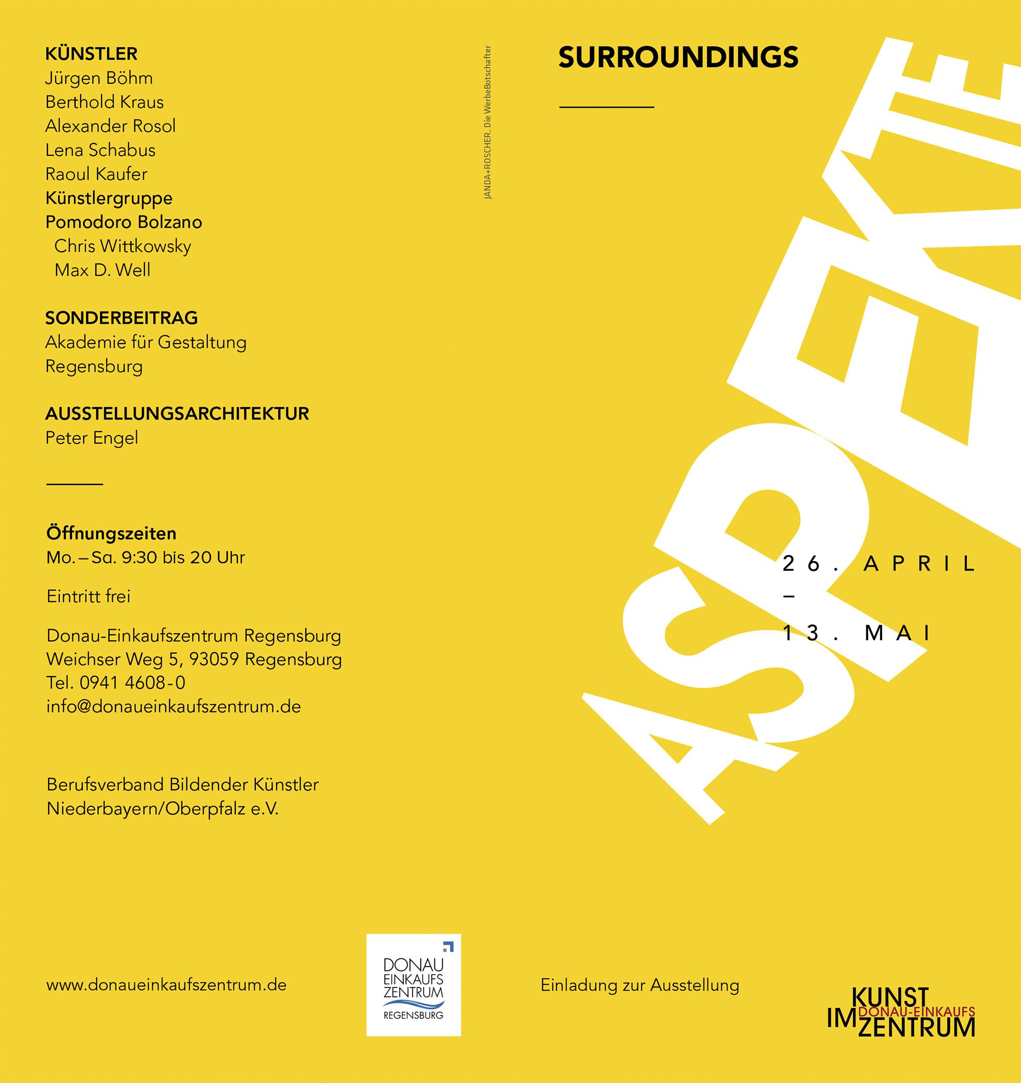 einladung zur vernissage: aspekte 2017 - kunst im donau, Einladung