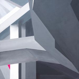 Konstrukt, 40 x 40 cm, Acryl und Öl auf bespannter Malpappe, 2017