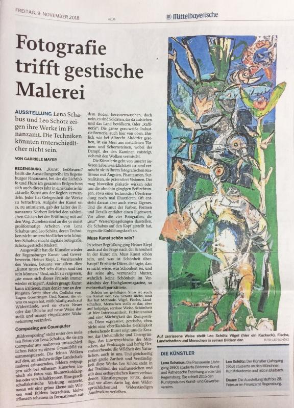 Mittelbayerische Zeitung vom 9.11.18 (Für eine größere Ansicht auf den Artikel klicken)